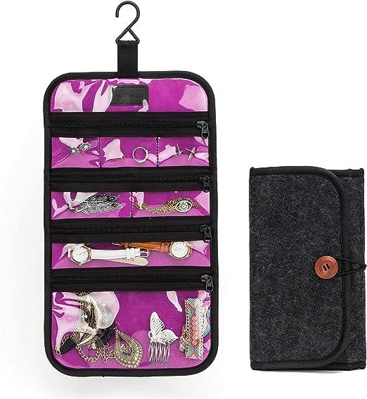 Multi Pocket Jewelry Hanging Storage Organizer Holder Earring Bag Display QK