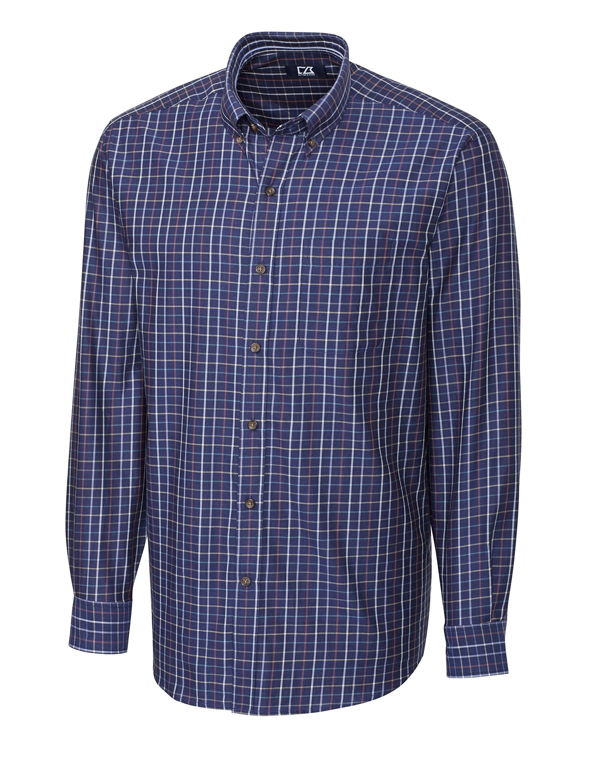 Cutter & Buck Men's Big-Tall Long Sleeve Jackson Plaid Woven Shirt, Multi, 3X/Big