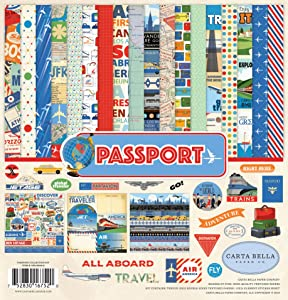 Carta Bella Paper Company Passport Collection Kit, Red, blue, sky blue, yellow, forest green