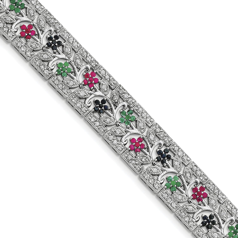 DIAMOND2DEAL INC Pulsera de Plata de Ley 925 con Zafiro rodiado, rubí, Esmeralda CZ, tamaño 17,78 cm