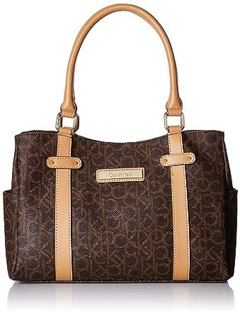 7e3a0cb7f Amazon.com: Calvin Klein Logo E/W Satchel Bag, Brown/Khaki/Camel ...