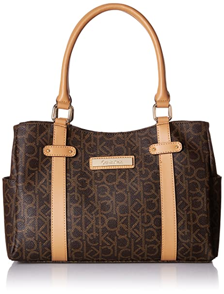 Amazon.com: Calvin Klein Monogram Satchel, Marrón, talla ...