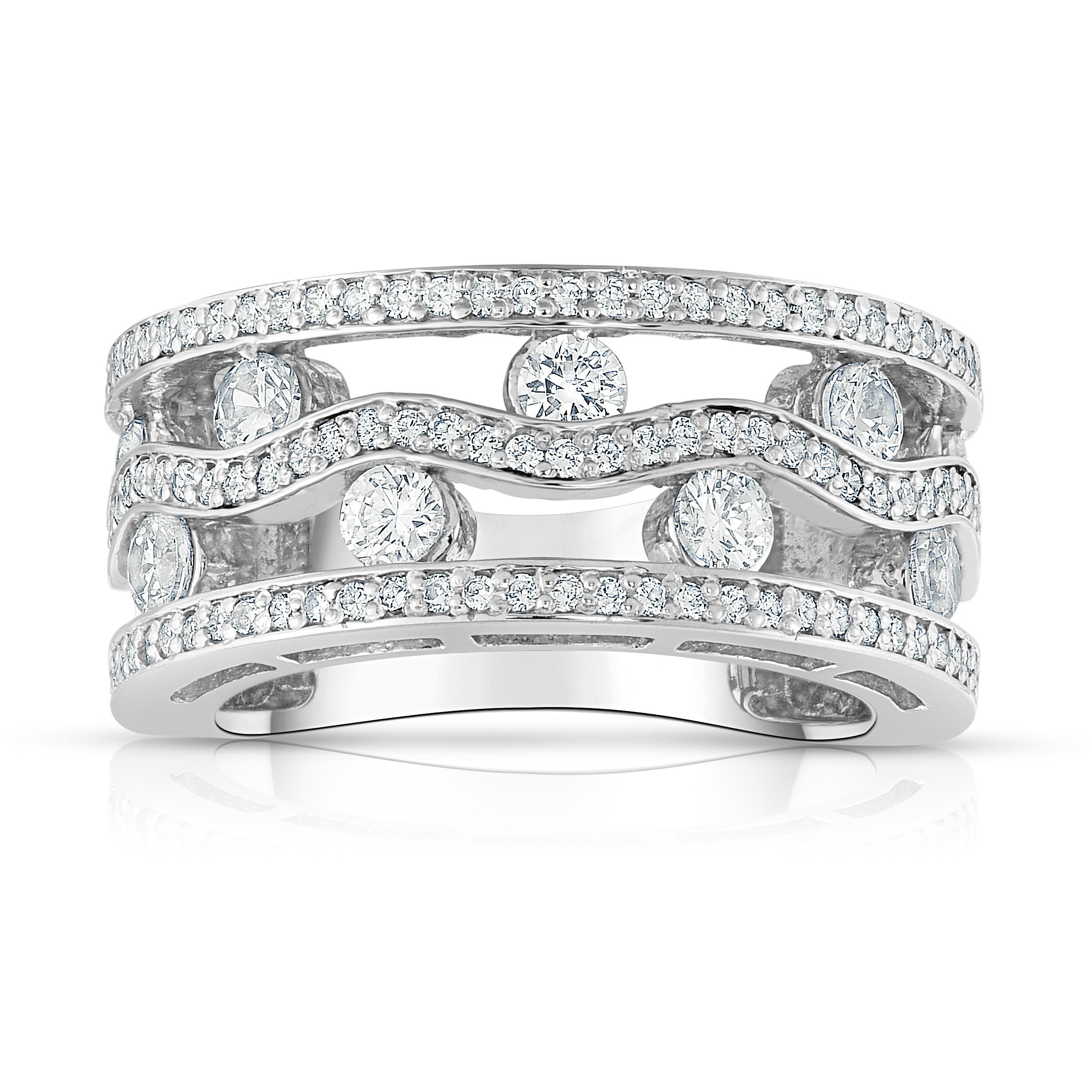 Noray Designs 14K White Gold Diamond (1.40 Ct, SI2-I1 Clarity, G-H Color) Wide Wedding Ring