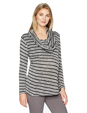 7cfb997904f3d4 Everly Grey Women s Reina Maternity and Nursing Cowl Neck Long Sleeve  Sweater Tunic