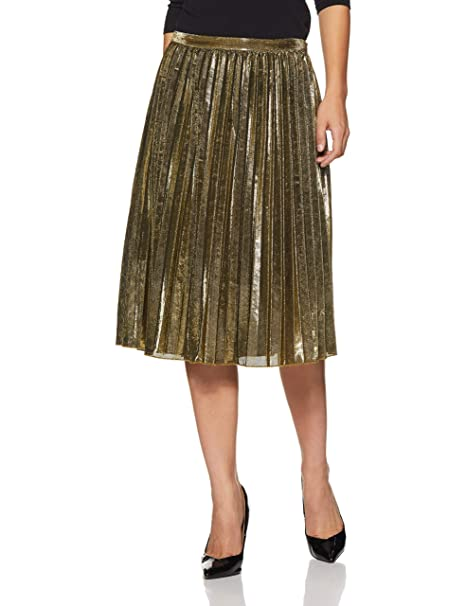 960e9ace4 Forever 21 Women's Metallic Pleated Skirt 231525, M, Gold: Amazon.in:  Clothing & Accessories