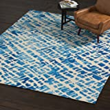 Rivet Modern Geometric Rug, 8' x 10', Blue