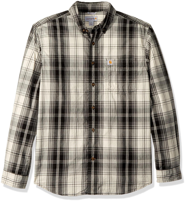 Carhartt Mens M Essential Plaid Button Down Long Sleeve Shirt
