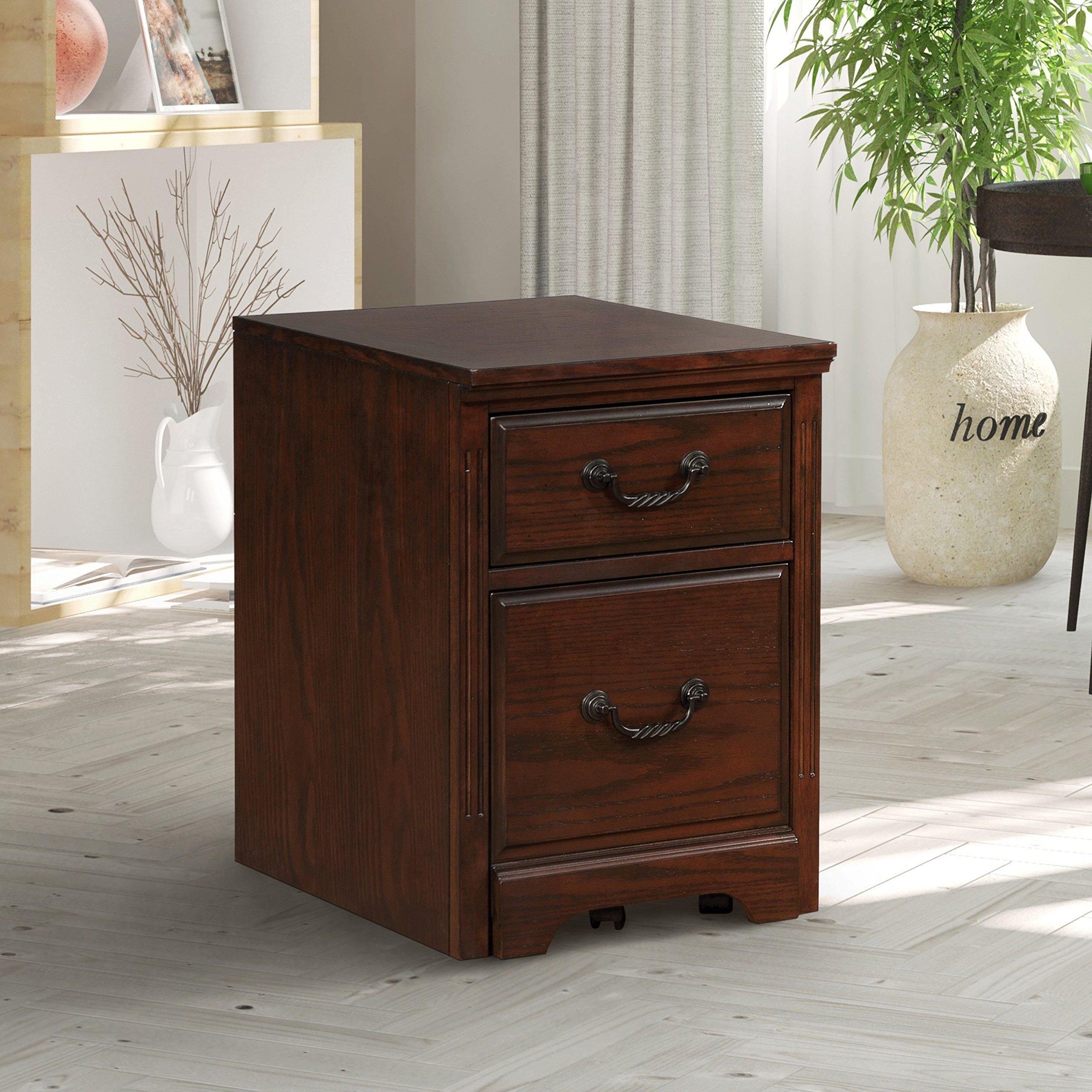 Furniture of America Devon Traditional 2-drawer Caster Dark Walnut Cabinet by Furniture of America