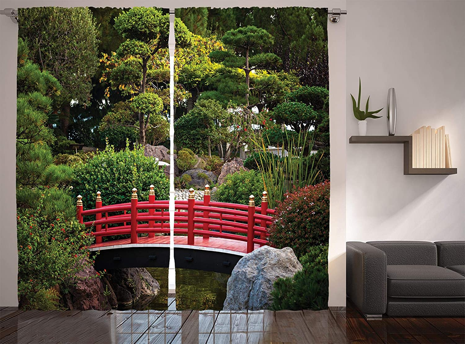"""Ambesonne Japanese Curtains, Bridge Over Pond in Japanese Garden Monte Carlo Monaco with Trees and Plants, Living Room Bedroom Window Drapes 2 Panel Set, 108"""" X 90"""", Green Red"""