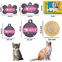 Placa de identificación para perros y gatos, PETID en aluminio resistente y liviano para tu mascota, personalizado grabado del nombre y teléfono. Formato Hueso y Redondo. Acompaña cadena, argolla y un dije super COOL (Redondo, Chico)