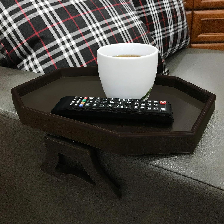 Forzaddik Side tables Sofa Armrest Clip-On Table, Recliner Armchair Organizer Tray (cherry)