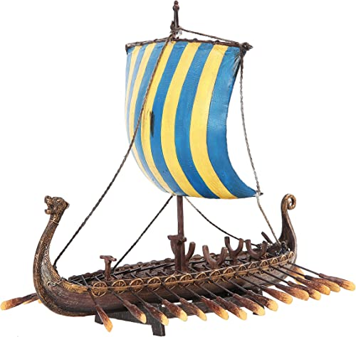 PTC 12.75 Inch Viking Warrior Replica Sailing Ship Resin Statue Figurine