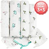 Baby Muslin Swaddle Blankets - 3+3 100% Cotton Receiving Blankets & Washcloths Set - Large Unisex Swaddles Perfect For Swaddling - Newborn Baby Shower Gift Box …