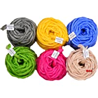 M.G Enterprise Chunky Roving Combo 6 pc Pack Soft Wool Roving Big Spinning Hand Knitting Thread Thick Crochet Yarn