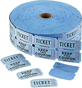 Admit 1 Double Ticket Rolls – Blue – 2000 Per Roll – Carnival Tickets - Concert Tickets – Admission Tickets