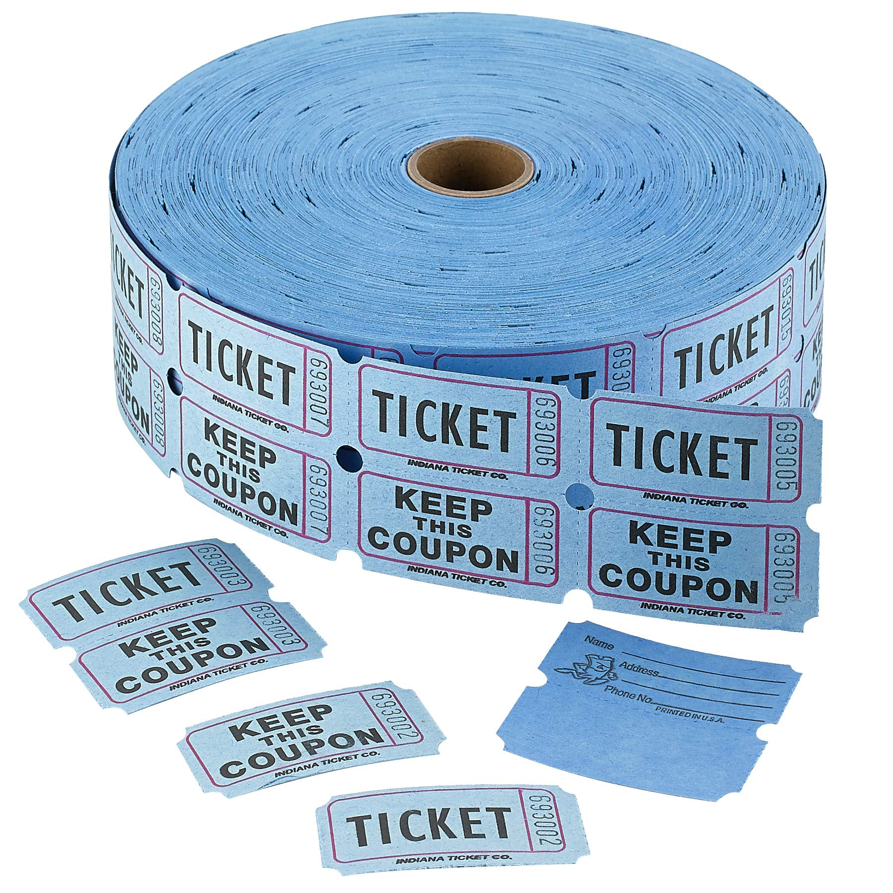 Admit 1 Double Ticket Rolls - Blue - 2000 Per Roll - Carnival Tickets - Concert Tickets - Admission Tickets by Kicko