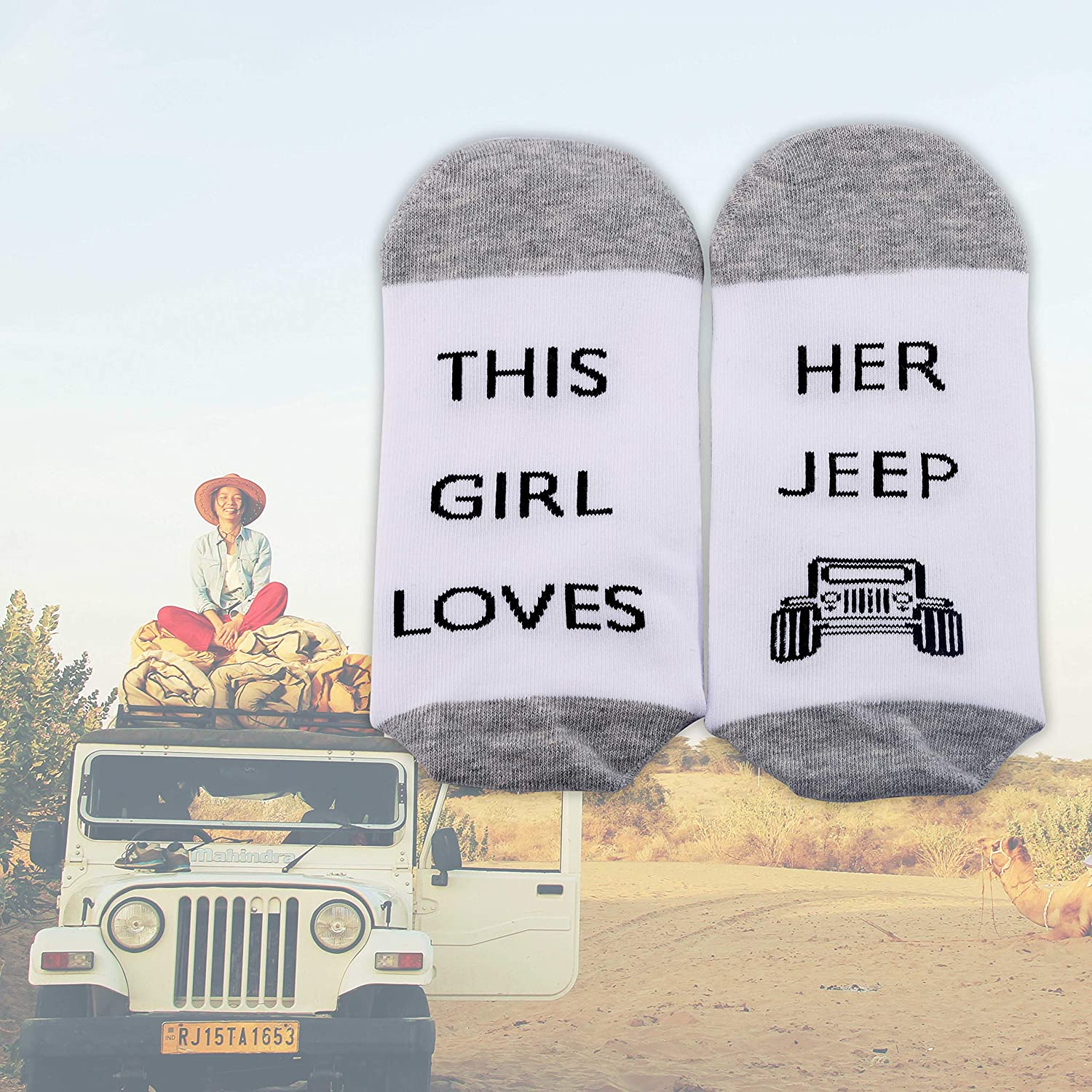 Jeep Girl Socks Jeep Owner Lover Gifts 2 Pairs This Girl Loves Her Jeep Jeep Novelty Crew Socks Jeep Wrangler Gifts for Women