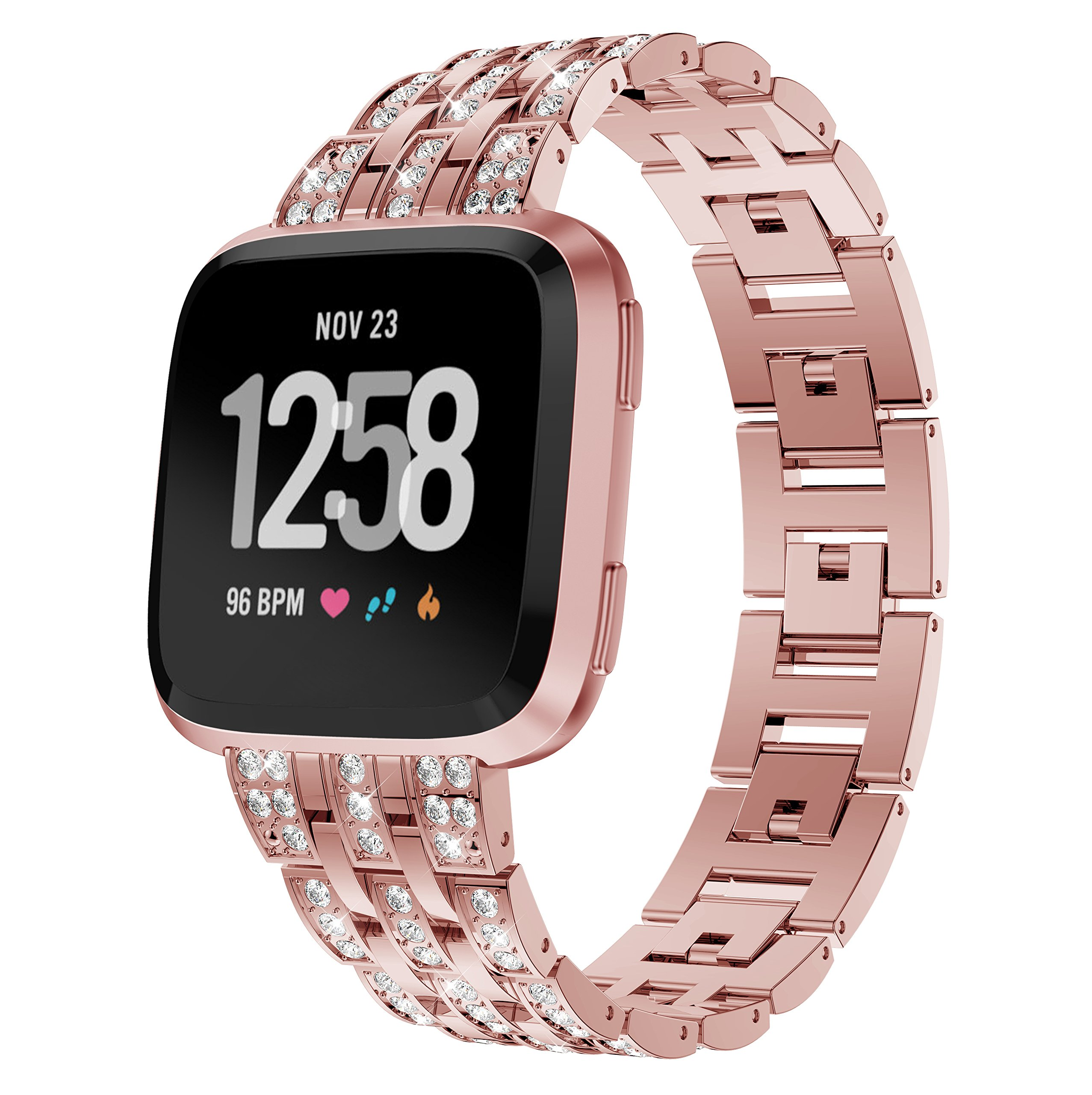 KisFace Metal Band for Fitbit Versa,Rhinestone Series Accessories Quick Release Unit Design for Fitbit Versa Band(Rose Gold match Watch).