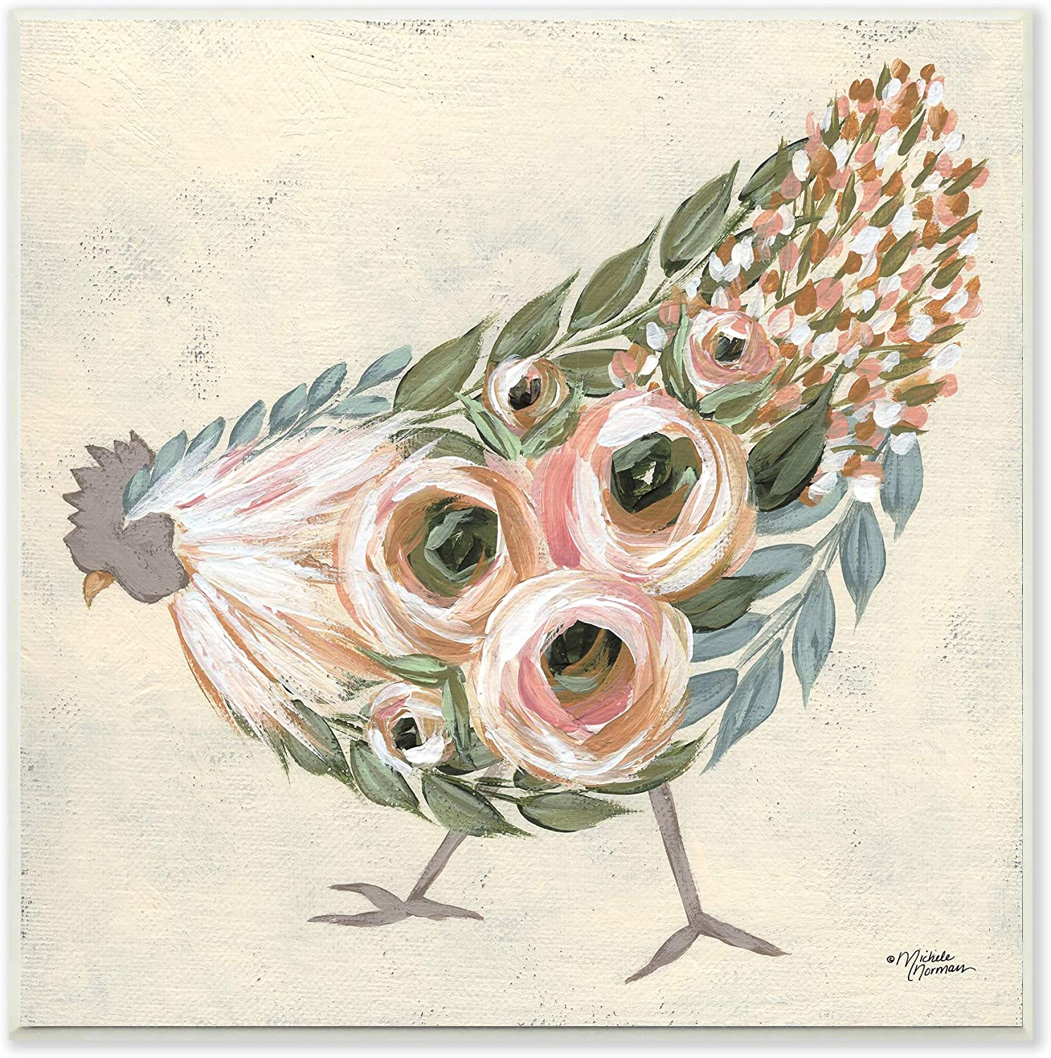 Stupell Industries Vintage Farm Chicken Pink Floral Body, Designed by Michele Norman Wall Plaque, 12 x 12