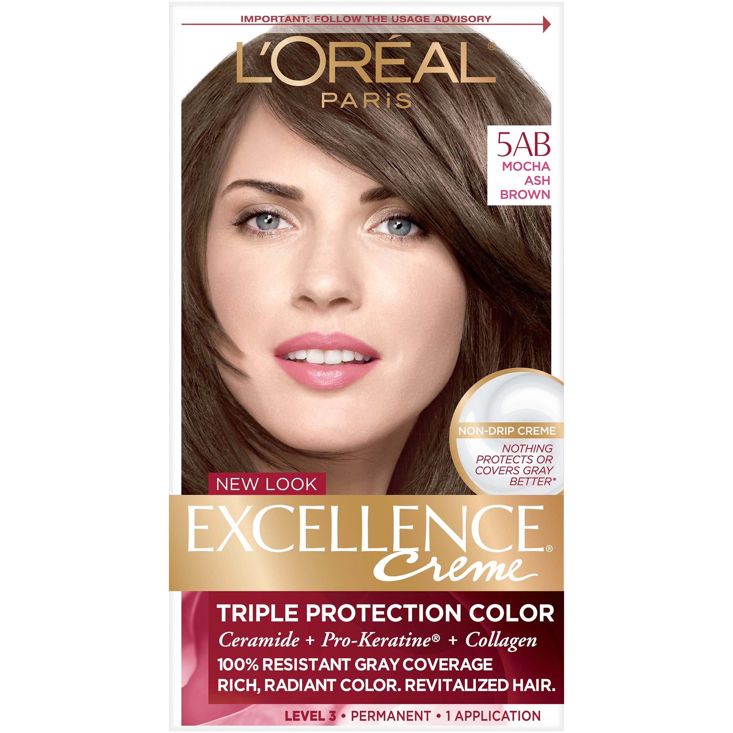 L'Oreal Paris Excellence Creme Permanent Hair Color, 5AB Mocha Ashe Brown, 100 percent Gray Coverage Hair Dye, Pack of 1