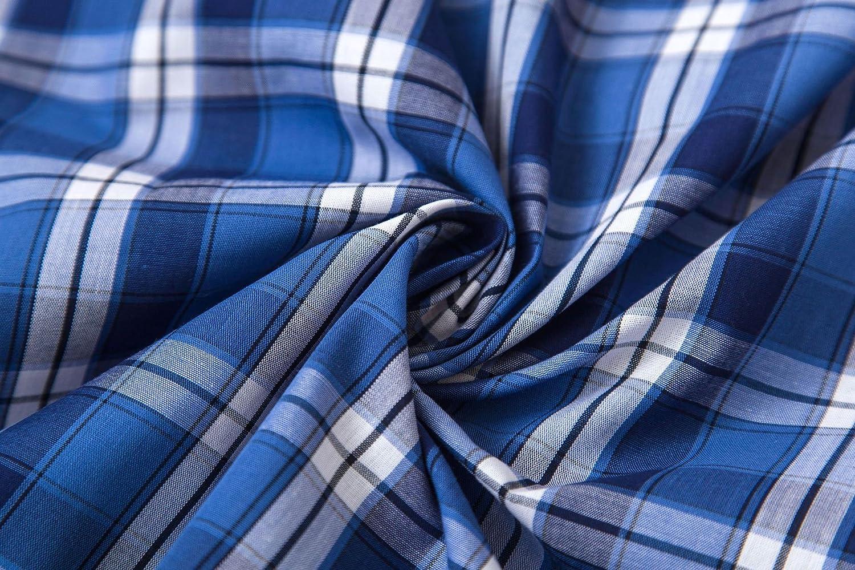 Royal Blue Plaid, Medium Boys Cotton Woven Short Pajama Set Sleepwear