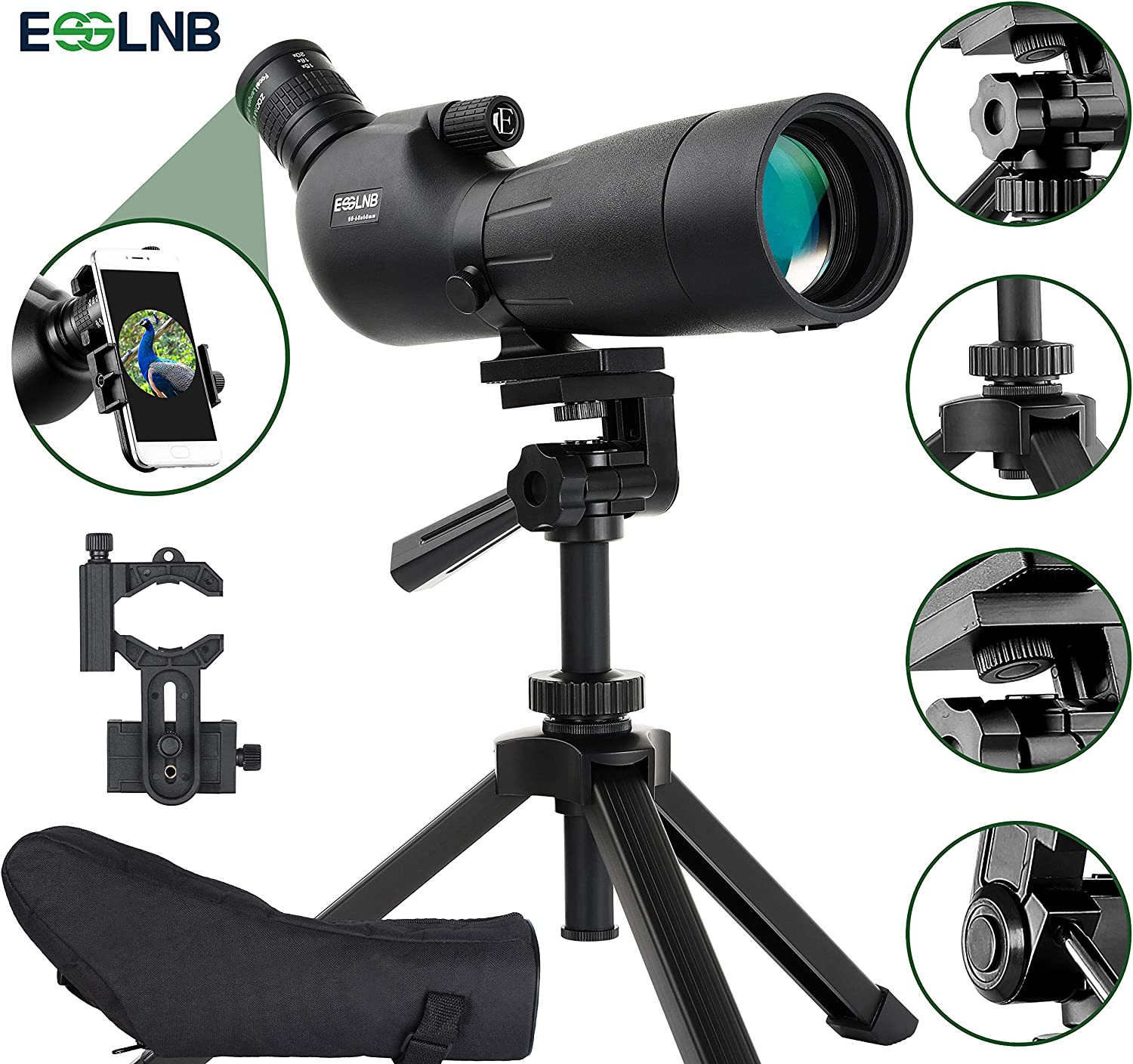 ESSLNB Spotting Scope with Tripod Phone Adapter BAK4 Waterproof Spotting Scopes for Hunting Target Shooting 20-60X with Carrying Bag