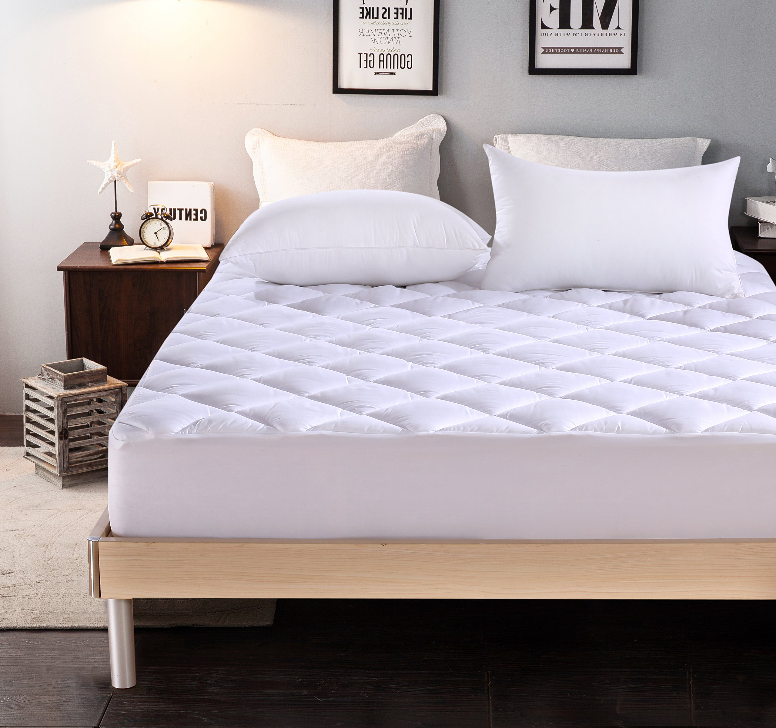 Everest EXTRA THICK Mattress Pad Queen size 60''x80''+18 Hypoallergenic Quilted Mattress Topper Deep Pocket Stretchable Skirt, Extra Plush 15oz DOWN ALTERNATIVE Fill,Superior 5 Star Hotel Quality
