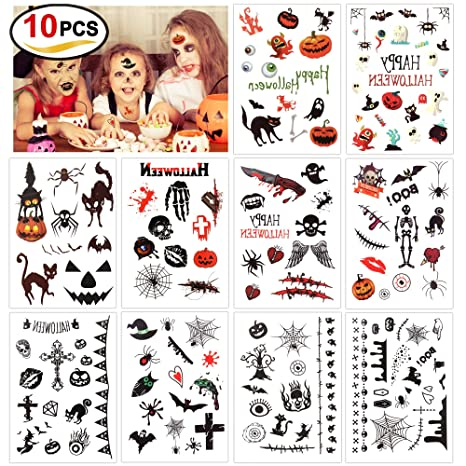 Disegni Di Halloween Facili.Howaf Halloween Finti Tatuaggi Temporanei Per Bambini 180 Simpatici Disegni Tatuaggi Temporaneo Adesivi Per Bambini Festa Di Halloween Sacchetti