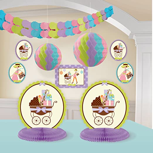 Amazon.com: Modern Mommy Room Decorating Kit Baby Shower Giraffe Animal  Print