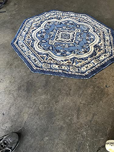 Traditional Octagon Persian Rug Light Blue Grey Brown Beige Black Design 520 5 Feet 3 Inch X 5 Feet 3 Inch