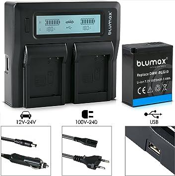 DUAL Doppel Ladegerät für Panasonic Lumix DC-TZ91 E 2  AKKU DMW-BLG10