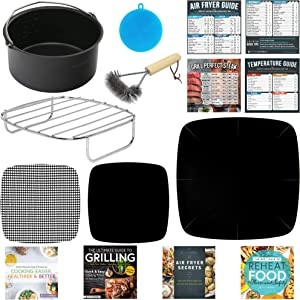 Air Fryer Accessories Compatible with Cosori, Chefman, Dash, Maxi-Matic, NuWave, Philips, Secura, Costzon, Enklov, Gourmia, Comfee +More | Complete Set of Airfryer Rack, Cake Pan, Cooking Guides.
