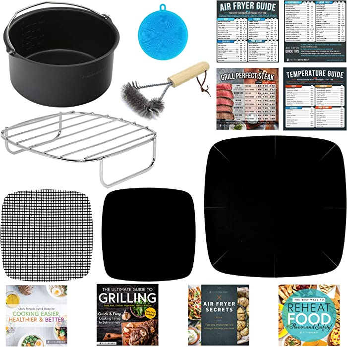 Air Fryer Accessories Compatible with Ninja, Bella, GoWise, Habor, Paula Deen, Power Airfryer Oven Elite, Vortex, Yedi, Zokop, Cozyna +More | Complete Set of Rack, Cake Pan, Cooking Guides.