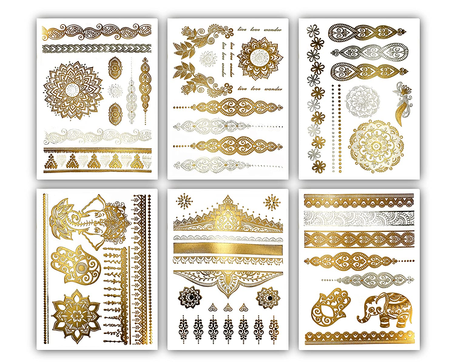 Amazon Com Terra Tattoos Temporary Henna Metallic Tattoos Over 75 Mandala Tattoos Gold Beauty