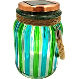 Sogrand Green Stripe Copper Cap Glass Jar, Solar Lights Outdoor, Thick Hanger