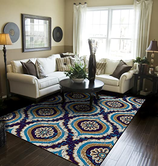 Amazon Com Modern Area Rugs Navy Rugs For Living Room 5x7 Navy Rugs For Bedroom Home Kitchen