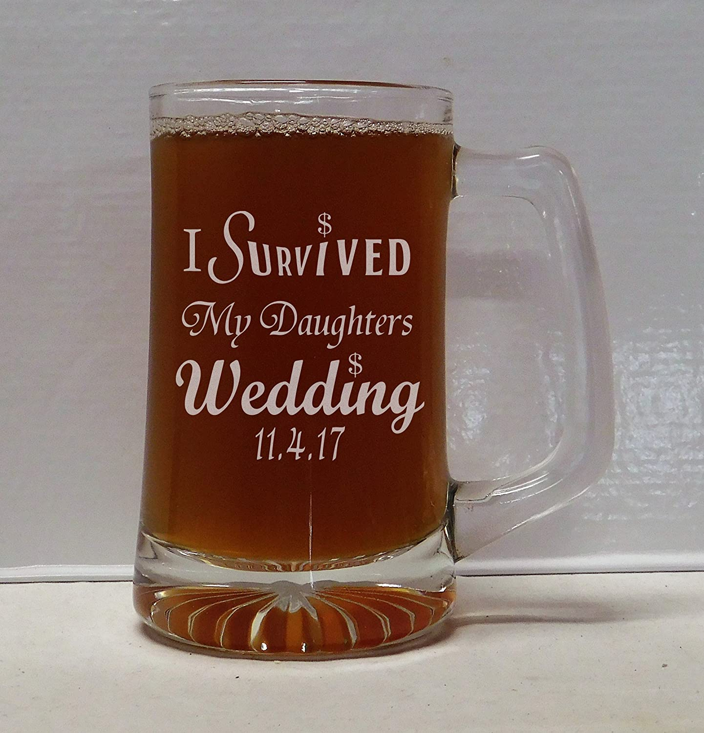 I Survived My Daughters Wedding Beer Mug
