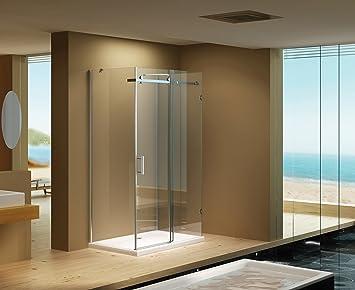 Mampara de ducha de 100 x 90 x 190 cm madera de Ida/8 mm/sin de ...