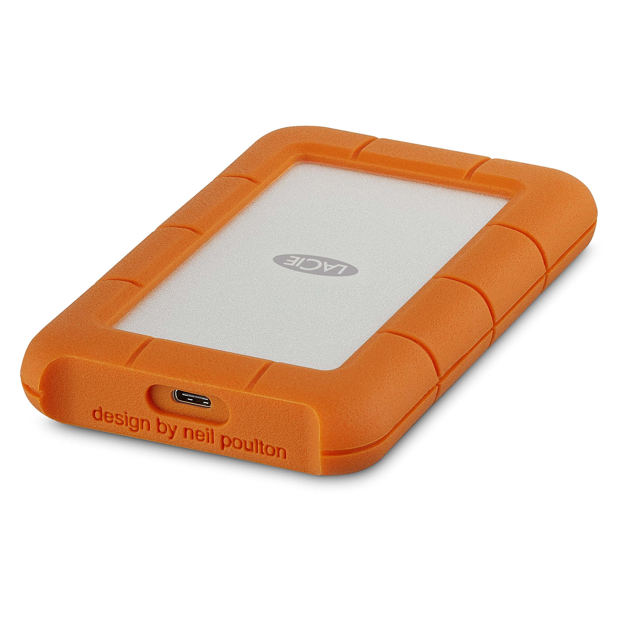 LaCie Rugged USB-C 2TB External Hard Drive Portable HDD - USB 3.0 compatible, Drop Shock Dust Rain Resistant, for Mac and PC Computer Desktop Workstation Laptop, 1 Month Adobe CC (STFR2000800)