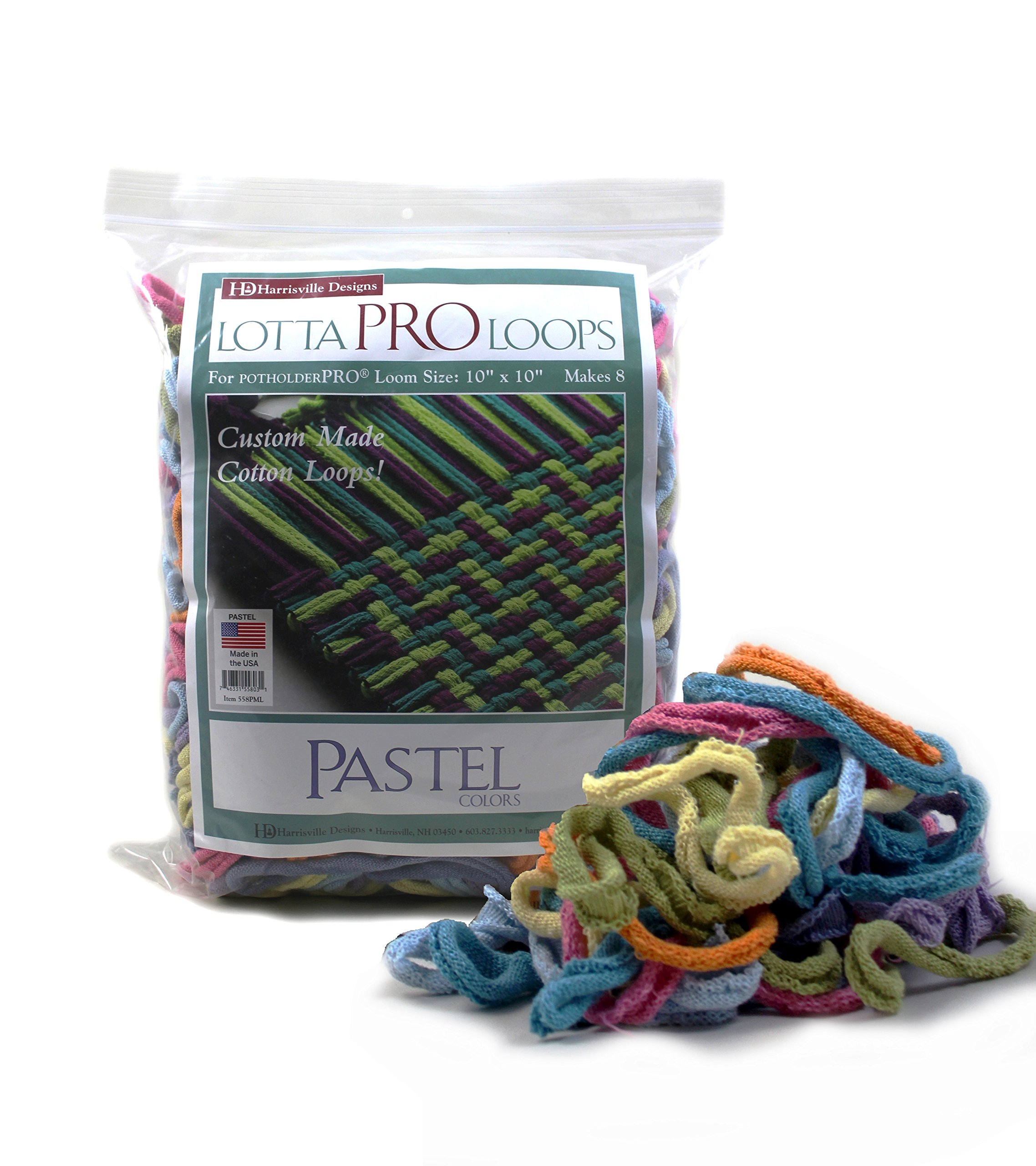 "Harrisville 10"" Pro Pastel Lotta Loops in Assorted Colors – Makes 8 Potholders"