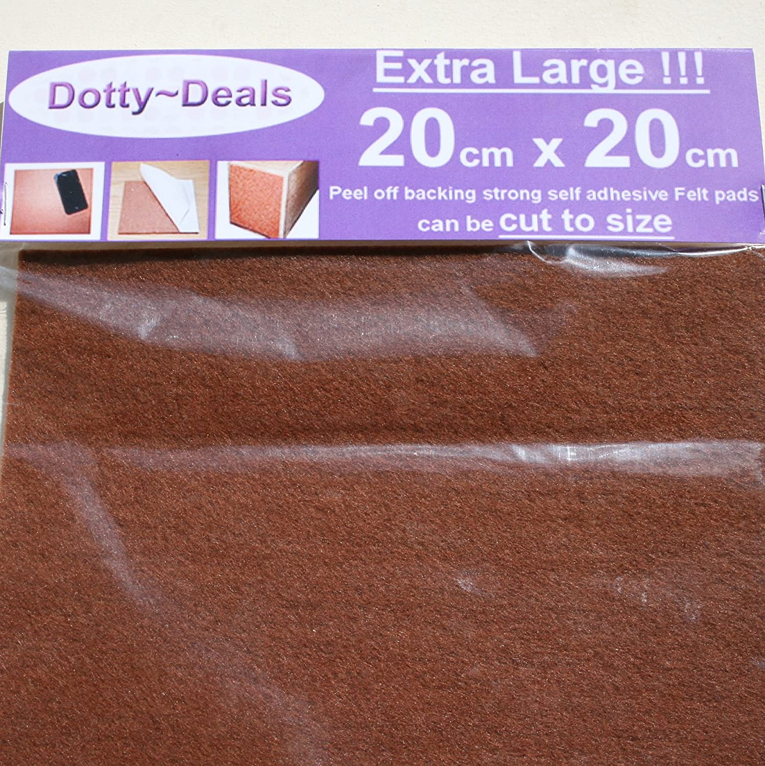 5x Extra Large 20cm X 20cm Square Self Adhesive Felt Floor Protector Pads Dotty Deals