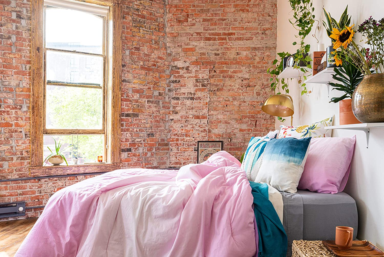 Refinery29 | Emerie Bedding Collection | Modern Reversible Luxury Ultra Soft Cotton Comforter, All Season Premium 4 Piece Set, Design for Home Hotel Décor (Full/Queen, Purple)