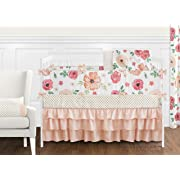 Sweet JoJo Designs Peach and Green Shabby Chic Watercolor Floral Baby Girl Crib Bedding Set with Bumper - 9 Pieces - Pink Rose Flower Polka Dot