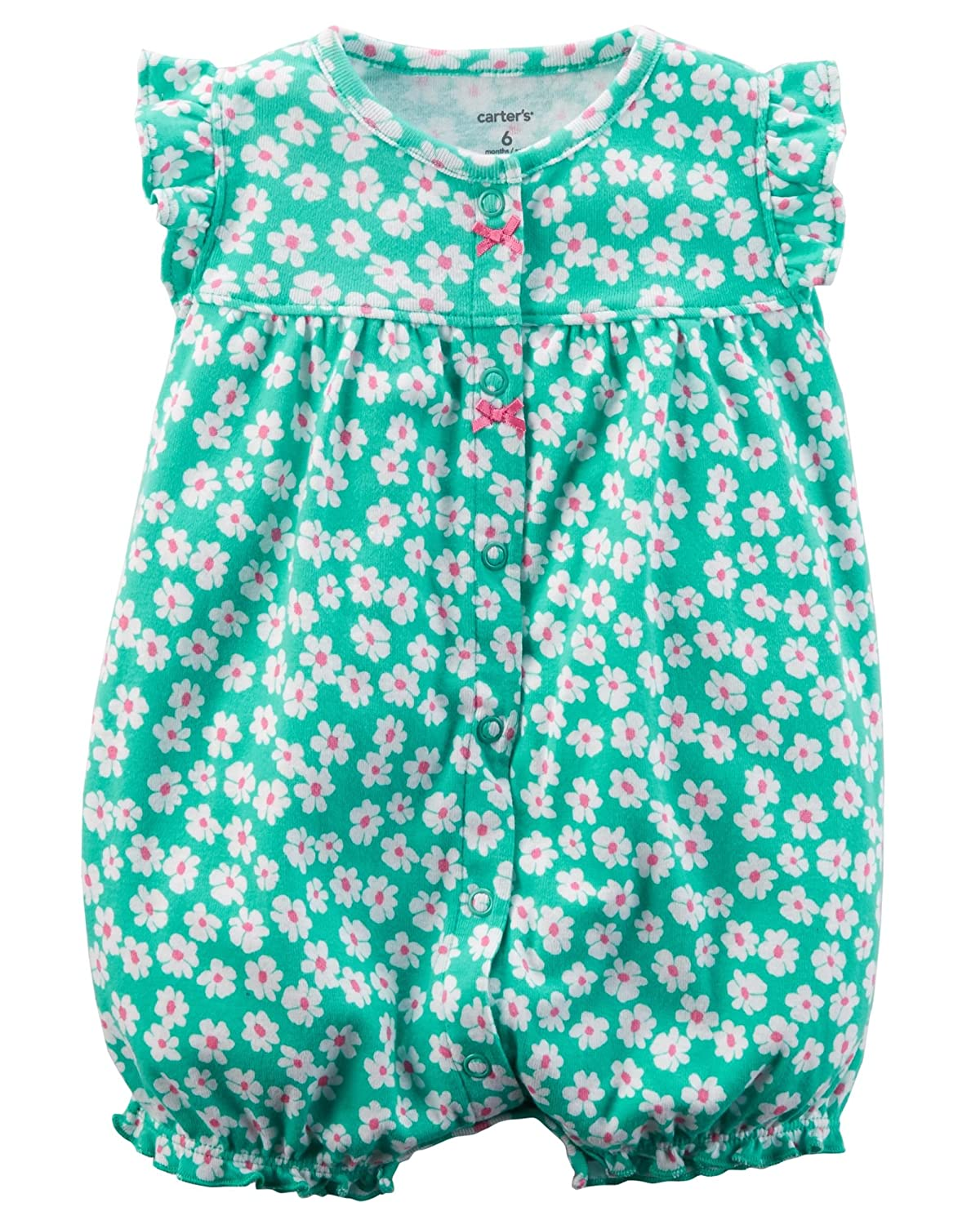 0ba9f0f3a This comfy cotton romper from Carter\'s features a vibrant floral print and  stylish flutter sleeves.