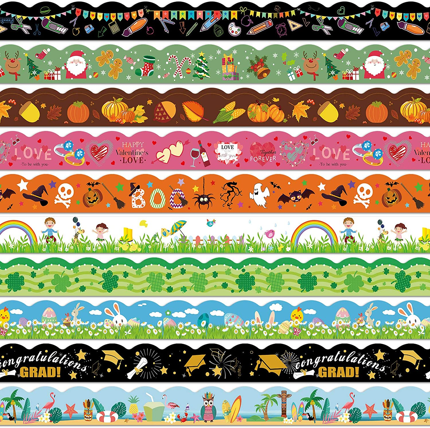 10 Pieces Halloween Thanksgiving Christmas Bulletin Board Decorative Trim Border Trim Bulletin Borders Stickers Self-Adhesive Blackboard Border for Classroom School Decoration