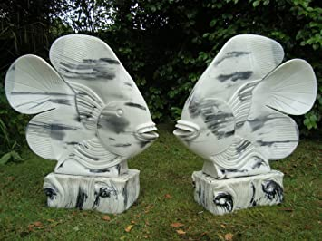 Large Garden Ornaments   White U0026 Black Fish Sculptures