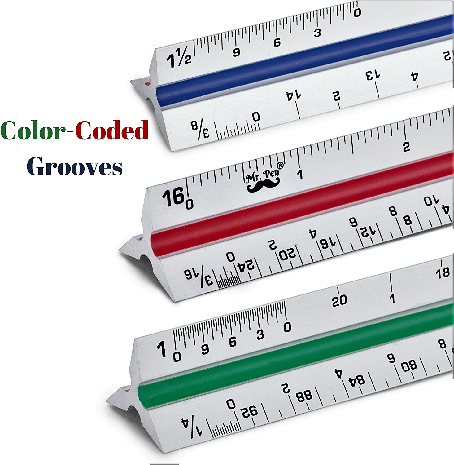 Pen Triangular Aluminum Scale Ruler for Blueprint 12 Inches Color-Coded Architectural Drafting Mr