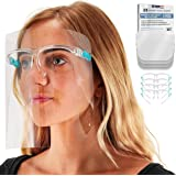 TCP Global Salon World Safety Face Shields with Glasses Frames (Pack of 4) - Ultra Clear Protective Full Face Shields to Prot