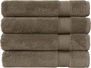 Classic Turkish Towels Luxury Bath Towels - Soft and Plush Hotel and Spa Quality 4 Piece Set Made with 100% Turkish Cotton (Coffee Bean)