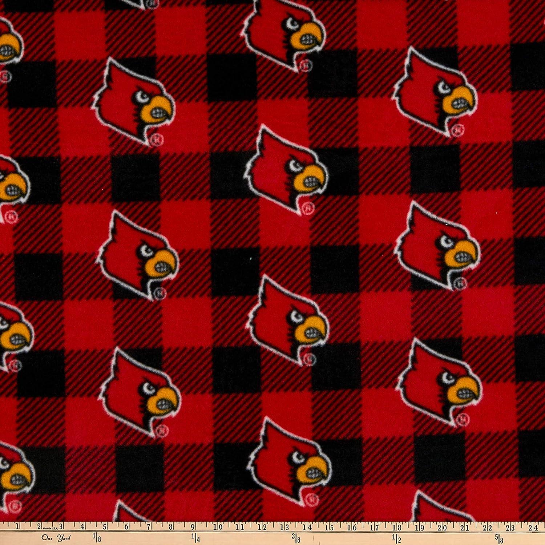Sykel Enterprises NCAA Louisville Cardinals Buffalo Plaid Fleece Red /& Black Yard